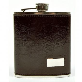 Hip Flask, leather-optics brown